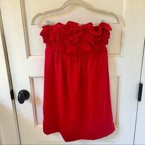 Esley Ruffled Red Strapless Dress